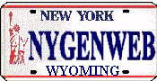 New York State License Plate with Wyoming written on the bottom